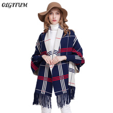 Winter Women outwear Coat Oversized Knitted Cashmere Poncho Capes Duplex Shawl Cardigans 2018 fashion Sweater With Tassel coat(China)