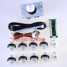 Arcade DIY Kits Parts 10x New 30mm LED Illuminated Buttons + Arcade Stick + USB Encoder Board For Arcade Mame Multicade - White