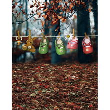 5x7FT Autumn Fall Maple Forest Tree Trunk Leaves Shoes Clothesline Custom Photo Studio Backdrop Background Vinyl 220cm x 150cm(China)