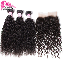 Beauty Forever Malaysian Curly Human Hair Weave Bundles With 13*4 Lace Frontal Closure Free Part Remy Closure(China)