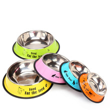 Stainless steel dog bowl sport travel Pet dog cat food feeder Outdoor Drinking Water Fountain pet feeding tool cartoon style(China)