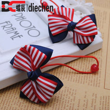 1 pair red striped printed grosgrain bows toddler baby girls rubber bands hair elastics hair ties accessories for children