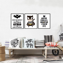 Batman Logo Canvas Painting Super Hero ABC Alphabet Nursery Wall Art Posters Prints Pictures for Kids Room Home Decor No Frame