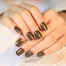 Dark Brown Short False Nails Shimmer Glitter Acrylic Nail Lady Daily Wear Art Decoration Z297