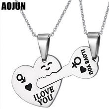 AOJUN Hearts Key Pendant Necklace For Men Woman 316L Stainless Steel Necklace Korean Couple Necklaces Set Best Friend Jewelry(China)