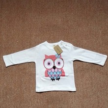 SQBCMW 2017 kids spring autumn clothing children t-shirts for baby boys long sleeve t shirts owl dog zebra bear giraffe(China)