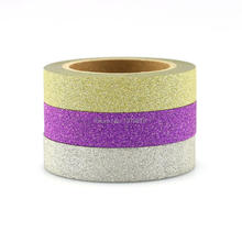 3PCS Glitter Gold Purple Silver Solid Washi Tape Set - High Quality Adhesive Tape Sticky Paper Tape Masking Tape 10mm*6.5M/ROLL(China)