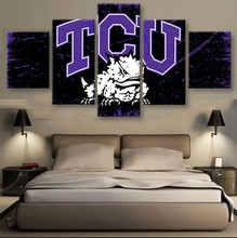 5 Panel TCU Horned Frogs Logo Sports Team Fans Oil Painting On Canvas Modern Home Pictures Prints Liveing Room Deco Fans Posters