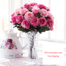 Simple European Style floral suit glass ornaments Decoration Living Room Coffee Table Decorative artificial flowers Silk Flower