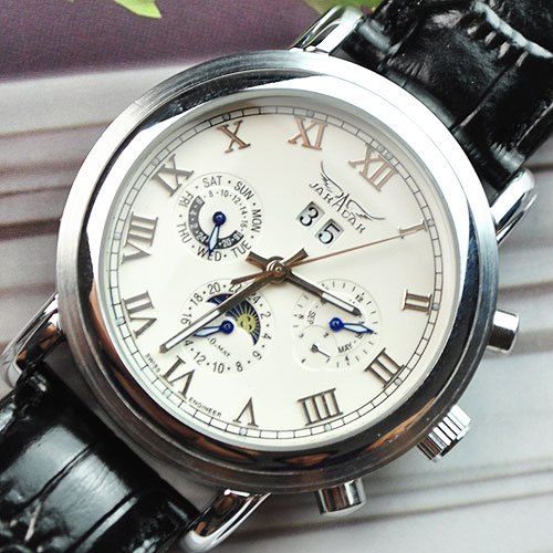 wholesale Luxury 6 Hands Automatic Mechanical Moon Phase Leather Mens Watch<br>