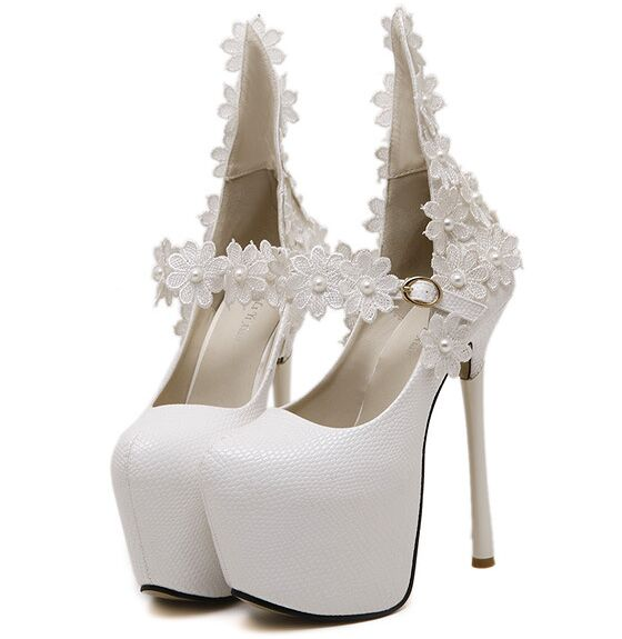 Size 4~9 White Flower Wedding High Heels Shoes 16cm Autumn Women Pumps Fashion Women Shoes zapatos mujer (Check Foot Length)<br><br>Aliexpress