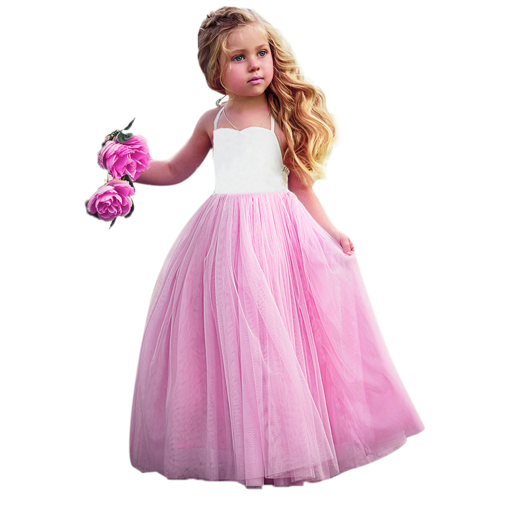 Fashion New Baby Girls Pink Summer Dress Kids Girls Princess Party Mesh Lace Tulle Halt Gown Formal Wedding Dresses 1Y-6Y Girls 5