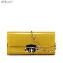 2016 new wave of bright skin patent leather clutch handbag shoulder messenger bag nightclub chain of small hand bag dinner