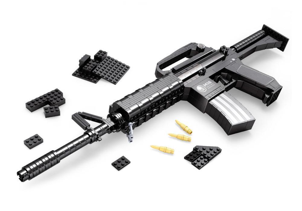 M16 Assault rifle GUN Weapon Arms Model 1:1 3D 524pcs Model Brick Gun Building Block Set Toy Gift For Children<br>