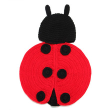 Lovely Ladybug Design Baby Crochet Photo   Props Infant Baby Crochet Animal Hats Hand Knitted Costume H046