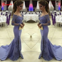 Beautiful Lavender Long Evening Gowns Robe De Soiree Beads Appliques Split Mermaid Long Sleeved Evening Dresses