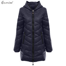 Gamiss Ultra Light Women's Winter Jacket Fashion Hooded Down Coat Plus Size 2XL Jackets 90% White Duck Down Slim Warm Long Coats