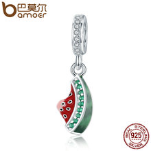 BAMOER Authentic 925 Sterling Silver Watermelon Dazzling CZ Charm Pendant fit Charm Bracelet Necklace DIY Beads Jewelry SCC443(China)