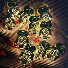 New Christmas Tree Decorative Lights 10LED 20LED Iron Owl Shape String Lights Fairy Light Battery Operated Home Decor Supplies(China)