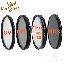 KnightX 52MM 58 67 67MM Graduated ND Color Lens fld uv cpl Filter set for Canon Nikon Sony d5300 5D 6D 7D DSLR SLR camera Lenses(China)