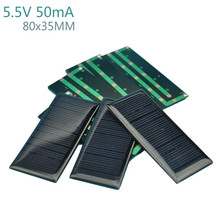 10Pcs Solar Panels Battery Power Solars Charging DIY Rechargeable Batteries 5.5V 50mA  80x35MM Solar Panel
