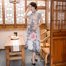 2017 New Sale National Trend Clothing Spring Chinese Cheongsam Dress For Women Vintage Qipao Dresses