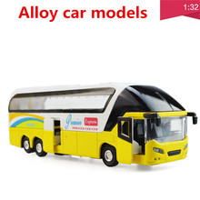 1:32 alloy car models,high simulation tour bus, metal diecasts, toy vehicles, pull back & flashing & musical, free shipping(China)