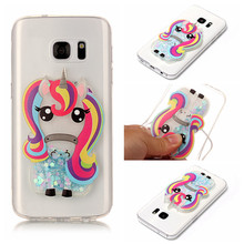 Luxury Fashion Quicksand Liquid Rainbow Horse Soft Silicone Case For Samsung Galaxy S7 S8 Plus A3 A5 A7 J3 J5 J7 Phone Cover(China)