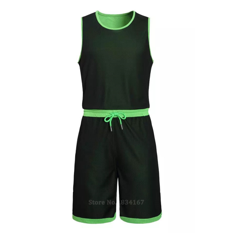 17 Men Reversible Basketball Set Uniforms kits Sports clothes Double-side basketball jerseys DIY Customized Training suits 18