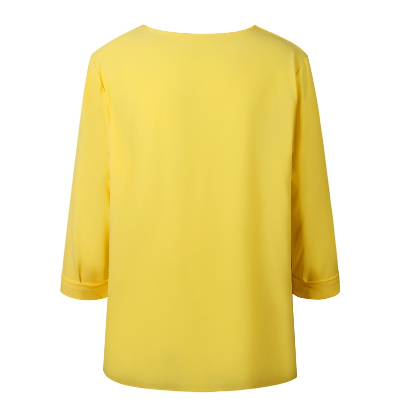 LOSSKY Fashion Long Sleeve Skew Collar Button Womens Tops And Blouses 2018 Spring Autumn Casual Streetwear Yellow Office Shirts 13