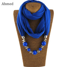 Ahmed Bohemian Colorful Beads Pendant Scarf Necklace For Women Charm Scarves Statement Fashion Jewelry Collar Bijoux(China)