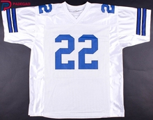 Embroidered Logo Emmitt Smith white blue throwback high school FOOTBALL JERSEY for fans 1211-12(China)