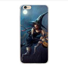 Flying broom witch Halloween design For iphone 6 6S 7 Plus 4S 5 5S SE Hard plastic case For Samsung Galaxy S6 S3 S4 S5 S7 edge(China)