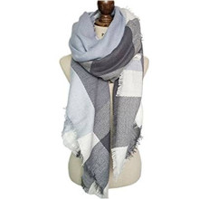 New Women's Grey Plaid Classic Checked Scarf Long Soft Wraps Blanket Tartan Scarves Fashion Ladies Oversize Shawl Wraps