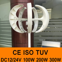 Wind Power Generator DC12V/24V 100W 200W 300W Wind Alternative Vertical Axis Wind Turbine Generator 5 Blades CE TUV Color White(China)