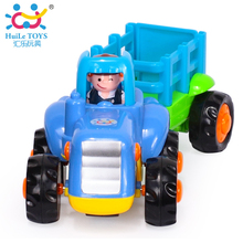 1PC HUILE TOYS 326B Engineering Car Models Farm Tractor With Wagon Truck Baby Toy Cars Classic Toys for Children Boy Xmas Gifts