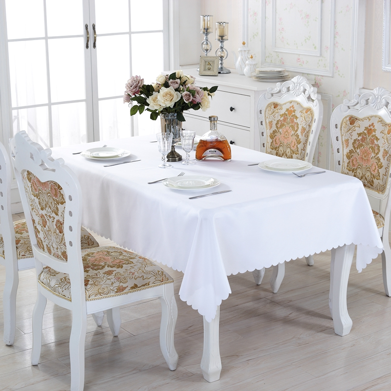Cheap White Solid Round Polyester Rectangle Tablecloth On table Square Dining Tablecloths Picnic Tablecloth For Table Kitchen(China)