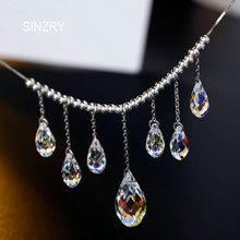 SINZRY party Jewelry pure handmade waterdrop crystal chokers necklaces 925 sterling silver imported crystal jewelry women gift(China)
