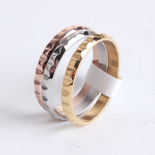 3mm three ring gear 316l Stainless Steel finger rings for women men wholesale jewelry