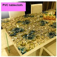 Dazzle colour soft glass tablecloth/frosted crystal board waterproof plastic tablecloth pvc tablecloth