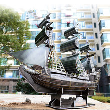 Educational 3D Puzzle Paper DIY Toys Picture Puzzle Ship Model Handcrafts Model Of Pirate Ship(China)