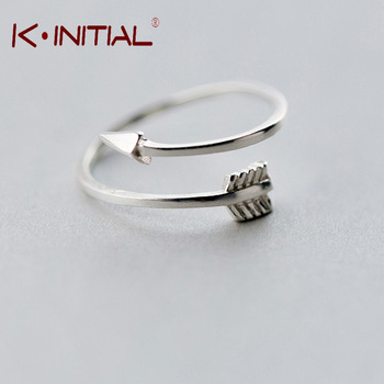Kinitial 1Pcs New Fashion 925 Sterling Silver Adjustable Arrow Ring  Midi Finger Feather Rings for Women Charm Party Gift