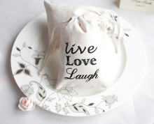 "Free Shipping 10x15cm Customized ""Live Love Laugh"" Printing Wedding Favor Candy Gift Bags Bridal Shower Drawstring Pouch Bags"