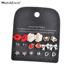 9 Pairs Sets Personality Red Lips Heart Star Butterfly Flower Trophy Mixed Combination Lovely Stud Earrings Set for Women(China)