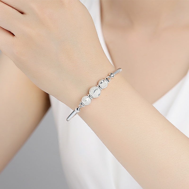 14-17cm wear 999 Sterling Silver Bead High quality female jewelry Korean transport bell Bracelet free lettering lovers best gift