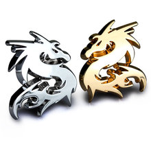 Chinese Dragon Totem Kylin Unicorn Animal Zinc Alloy Chrome Metal Car Styling Emblem Badge 3D Sticker Decal Scratch Spot Cover(China)