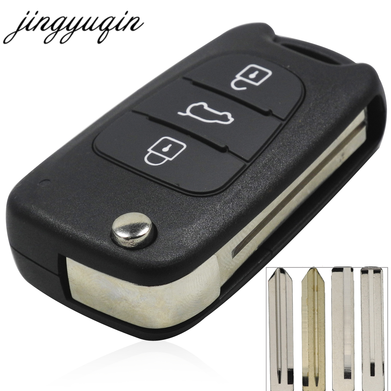 jingyuqin Remote Flip Folding Key Shell 3 Button For Kia sportage Picanto 3 rio k2 K5 Cerato Ceed Soul Car Key Fob Case Housing(China)