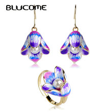 Blucome Imitation Pearls Jewelry Sets Purple Hooks Earrings Adjustable Wedding Rings Enamel Lily Flower Ring Bijuteria Bijoux