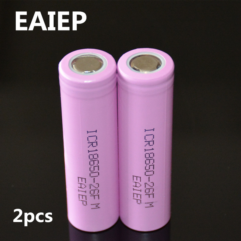 3.7V 2600mAh Original 18650 rechargeable li-ion Battery EAIEP For ICR18650-26F ICR18650 26F 2600 mAH batteries 2