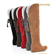 2017 New Fashion Sexy Warm Long Women Boot Lace Up Tassel Motorcycle Boots Women's Boots Over The Knee Round Toe Plus size 34-43